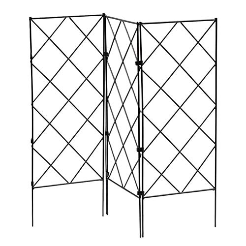 "Miada Metal Garden Wall Trellis for Climbing Plants 20.8"" x 7.8"" Black Iron Plant Trellis for Plant Support Metal Trellis for Vegetables Flowers 3 Pack"