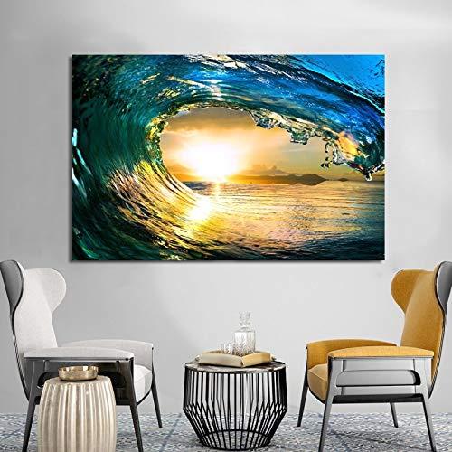 KWzEQ Moderno Paisaje Marino Pintura al óleo póster y Foto Arte de la Pared Turquesa mar Ola decoración de la Sala,Pintura sin Marco,60x90cm