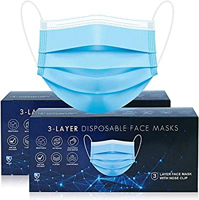 100 pks Disposable Face Masks | 3-Layer Breathable face mask with strong Elastic Ear loops | UK SELLER