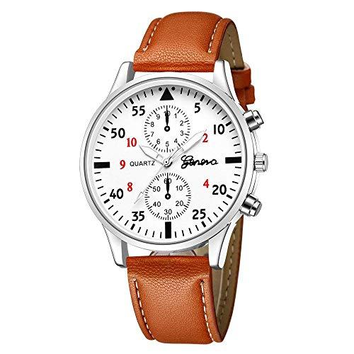 ESTYLE Relojes para hombre, Liquidación Relojes de pulsera Bullova Moda de cuero militar de aleación de cuarzo analógico Relojes de negocios (marrón+blanco)