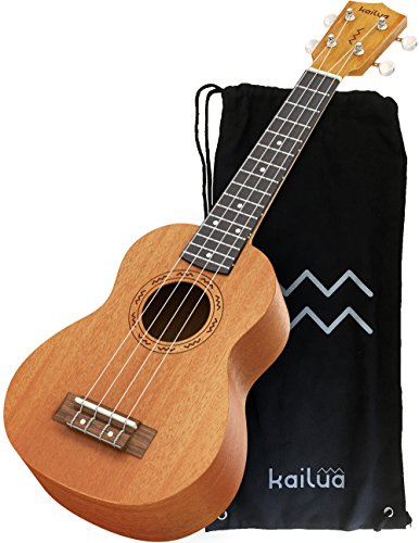 Kailua 4 String Soprano Ukulele - Hand Crafted Mahogany Wood Vintage Style Hawaiian Musical Instrument - Best Ukulele to Learn How to Play - Black...