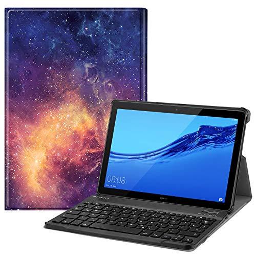 Fintie Bluetooth QWERTZ Tastatur Hülle für Huawei MediaPad T5 10 - Ständer Schutzhülle mit Magnetisch Abnehmbarer Drahtloser Deutscher Bluetooth Tastatur für Huawei T5 10.1, Die Galaxie