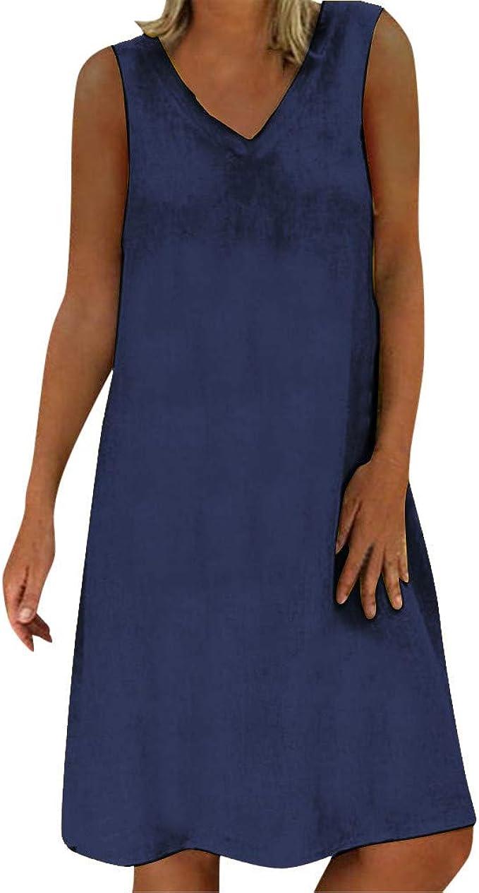 Kleid A Linie Knielang Kleider Armellos Casual Boho Damen Abendkleider Elegant Fur Hochzeit Grosse Grossen Abendkleid Midi Sommerkleid Vintage Amazon De Bekleidung
