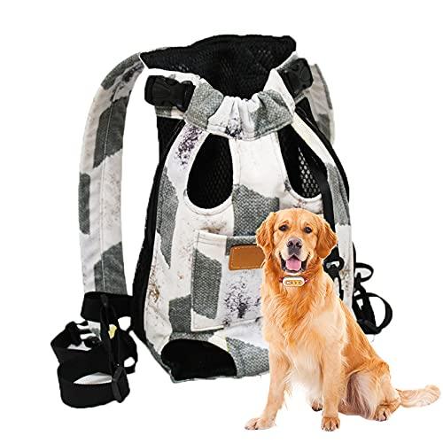 Yoommd Bolsa para mascotas, mochila para perros, bolsa de transporte segura para mascotas, doble bolsa de hombro, transpirable y cómoda, con patas ajustables, bolsa de viaje