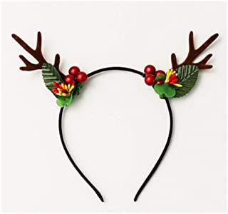 XLEIYI Fruit Antlers Headwear Headband Christmas Hair Accessories Hairpin Cute Deer Headband Female Simple Antlers (Color : D)