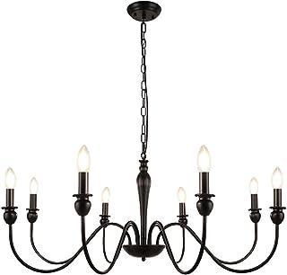 LynPon Lámparas de araña de diseño vintage francés, 8 luces Negro, Lámpara de techo de clásico Antiguo para la Cocina, Comedor, Dormitorio