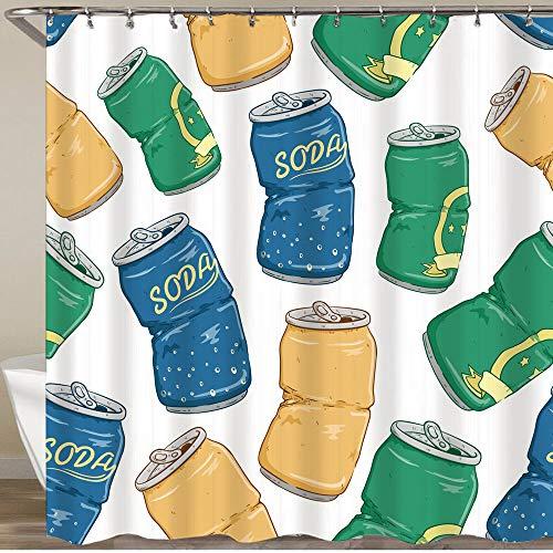 KGSPK Cortinas de Ducha,Latas de refrescos Rotos con Cerveza gaseosa y limón sobre Fondo Blanco.,Impermeable Cortinas Baño y Lavables Cortinas Bañera 180x180CM