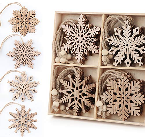 ilauke 20 pcs Unfinished Christmas Wood Snowflake Ornaments - 4 Style of Snowflake Ornaments Bulk with Twine, Christmas Tree Decorations Tags(2.75'-3.15')
