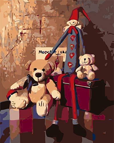 WSXYD DIY Malen nach Zahlen Set für Erwachsene Kinder Anfänger Leinwand-Ölgemälde Acrylfarben für Mama Tochter Weihnachten Geschenk Kofferbär-40x50cm