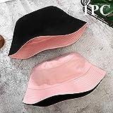 1 unid Doble Cara Visera Gorra Visera Color sólido Sombrero de Buzo Hombres y Mujeres algodón Plano Sombrero para el Sol Sombrero de Pescador Reversible Gorra de Cubo-a11-b11