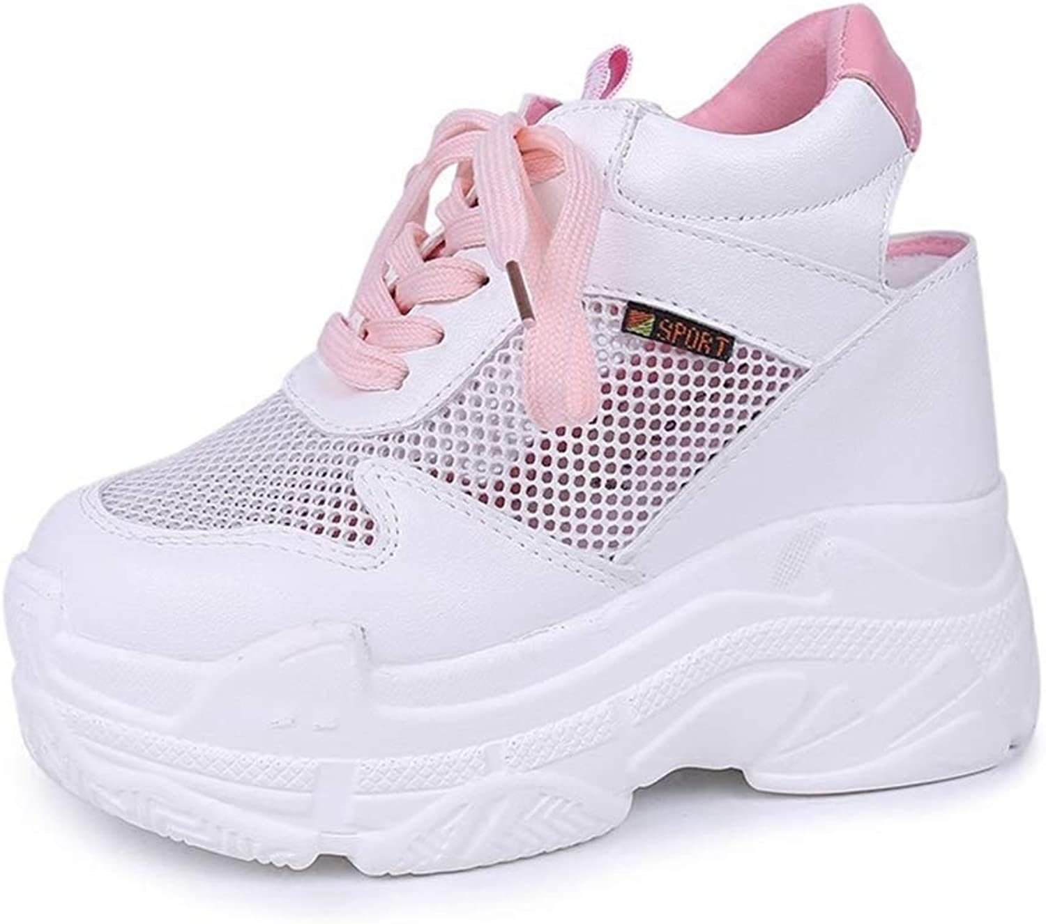 Women's Flat Casual shoes Mesh Breathable High Platform Wedge Sneakers Hollow Out Female shoes