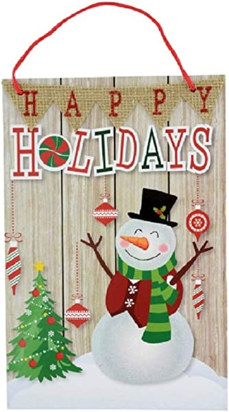 Happy Holidays Snowman Christmas Decorative Hanging Sign