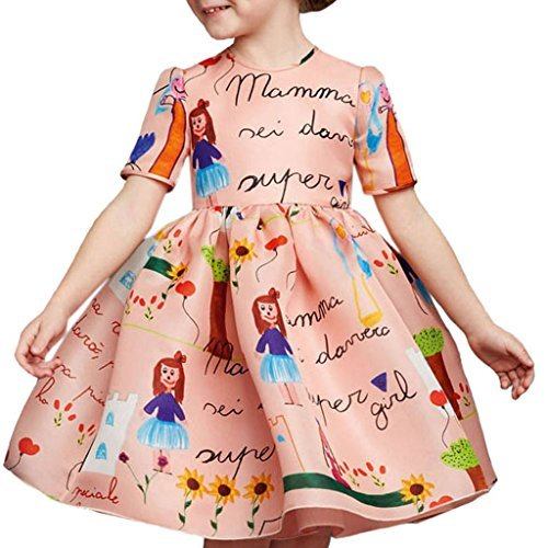 Girls Princess A Line pink playwear Mamma print Party Dresses,140 (7years)