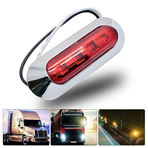 Maso, 2 luci laterali a LED a 4 LED, 12 V, 24 V, indicatori di arresto per auto, camion, camper, autobus, colore rosso