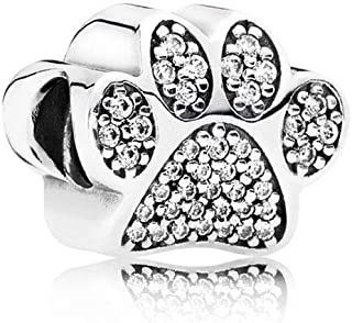 Compatible with Pandora Charms Bracelets Devoted Dog Charm, Paw Prints Charm, Bulldog Charm, Sterling Silver Charms for Girls Sister Women Daughter