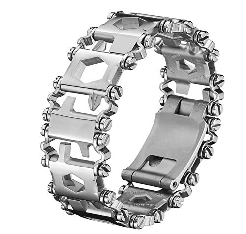 Multi Stainless Tool Bracelet for Men, 29 in 1Multitools Hiking Camping Travel Survival Friendly Wearable Multitool Tread Bracelet (Silver)