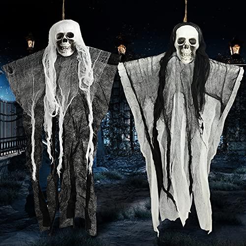 Faffooz Hallowen Decorazioni, 2 piezas Scheletro Fantasma Decorazione Halloween, Teschio Mietitrice da Appendere Animato,per Garden Home Garden Garden Party
