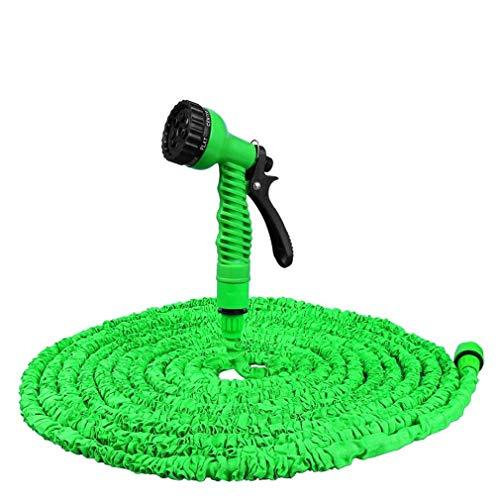 MILASIA tuinslang flexibel en uitbreidbaar, 50 FT 15 M intrekbare tuinslang, uitschuifbare tuinslang groen uitschuifbaar intrekbaar met 7 functies pistool