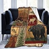 Manta rústica Lodge Bear Moose Deer Throw Blanket Manta de Terciopelo Ultra Suave Manta de Cama Ligera Edredón Decoración Duradera para el hogar Manta de Lana Manta de sofá Alfombra de Lujo para homb