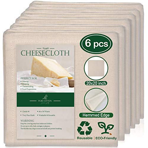 6 Pack 20×20 Inch Grade 90 Hemmed Cheesecloth, 100% Unbleached Cotton Fabric Ultra Fine Reusable Muslin Cloth for Straining, Cooking, Baking, Home