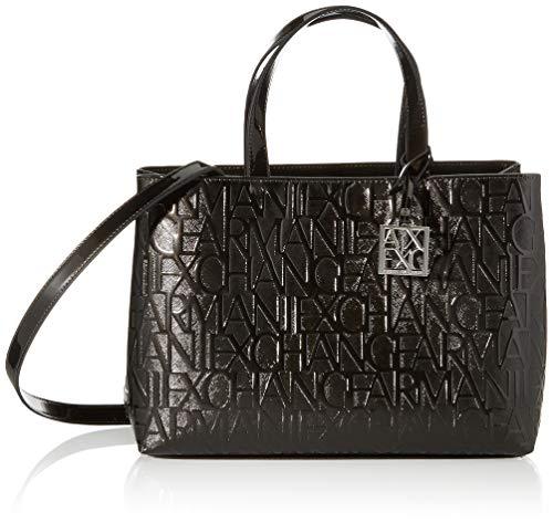 Armani Exchange Liz - Medium Open Shopping Tote, color Negro, talla 16x35x24 cm (B x H x T)