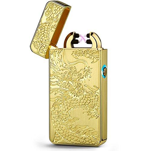 Elektronisches Feuerzeug USB Dual Lichtbogen Aufladbare Winddicht Flammenlose Sturm Plasma Metall Zigarette Elektronisch Feuerzeug , 60% Rabatt, Enden bald !