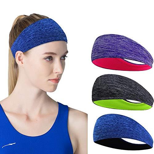 Linlook Sport Stirnband für Damen - Schweißband Anti Rutsch für Jogging, Laufen, Wandern, Fahrrad- und Motorrad Fahren 3 Pack