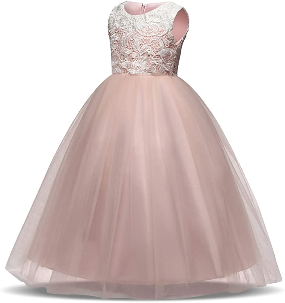 Baby Girl's Sequin Mesh Dress Kids Lace Embroidery Ball Gown Children's Party Dress Tulle Prom