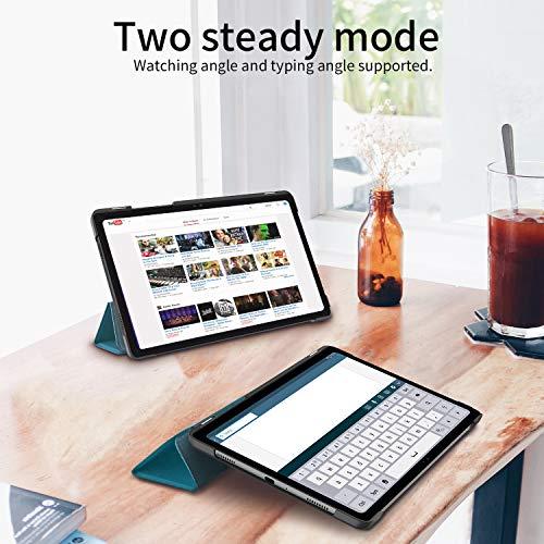 EasyAcc Hülle Kompatibel mit Samsung Galaxy Tab A7 10.4 2020 mit Panzerglas -Ultra Dünn mit Standfunktion Slim PU Leder Smart Schutzhülle, Pfauenblau