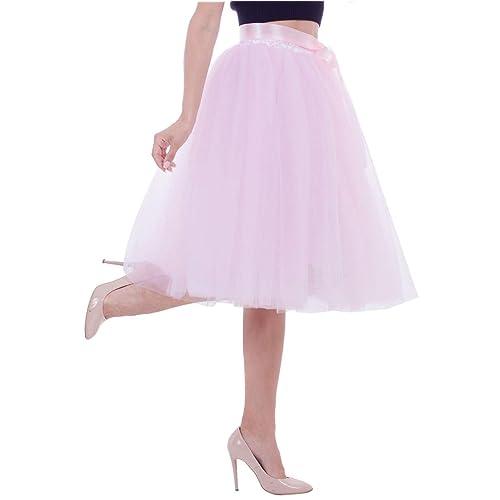 aab96fde00b Joeoy Women s Elastic Waist Ballet Layered Princess Mesh Tulle Midi Skirt