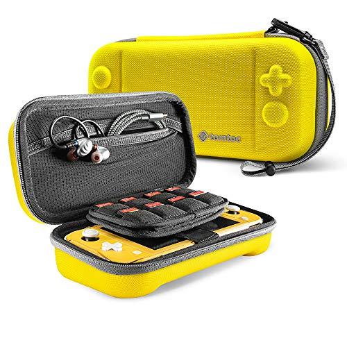 tomtoc Nintendo Switch Lite対応 ケース、 任天堂 スイッチ ライト キャリングケース 大容量 収納ケース、 ゲームカード24枚 周辺小物収納、 全面保護 耐衝撃、 イェロー