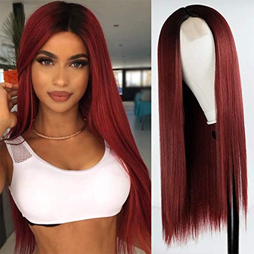 MISSWIG Long Straight Ombre Wig Red…