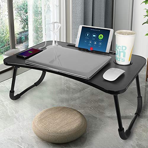 CHARMDI Lap Desk, Faltbarer Laptop-Schreibtisch mit USB, Betttisch mit Schublade, Frühstückstablett, Laptop-Ständer zum Arbeiten, Frühstück Essen, Buch auf Bett/Sofa lesen (schwarz)