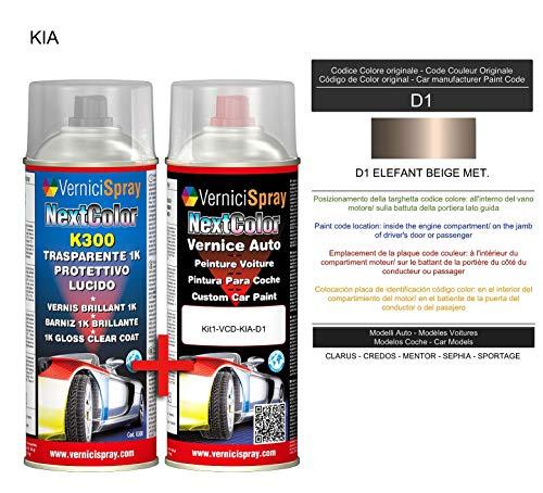Kit de retoque automotriz - Pintura en spray para coche en color metálico/perla D1 ELEFANT BEIGE MET. y brillo Clear Coat, 400 ml spraycans por VerniciSpray