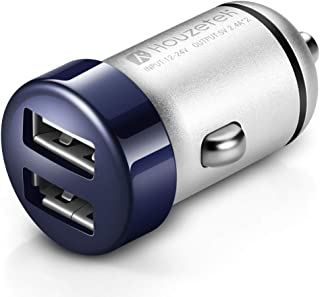 Car Charger, Houzetek 4.8A/24W Dual Ports Mini Car Charger Adapter, Efficient Charging Compatible with iPhone Xs/XR/X/8, iPad Pro/Air 2/Mini, Samsung Galaxy Note9/Note8/S9 and More(Blue)