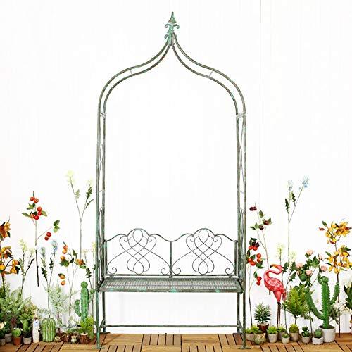 My Yard Cenador de servicio pesado retro, estilo francés Pérgola Pabellón Arco Arbor Arbor Plantas Stand Rack para bodas Jardín al aire libre Patio trasero Patio, Vides trepadoras, rosas, óxido verde,