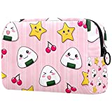 Borsa Cosmetica da Viaggio polpette di riso carine Borsa per Toilette Portatile Beauty Case make up bag Per le donne ragazze 18.5x7.5x13cm