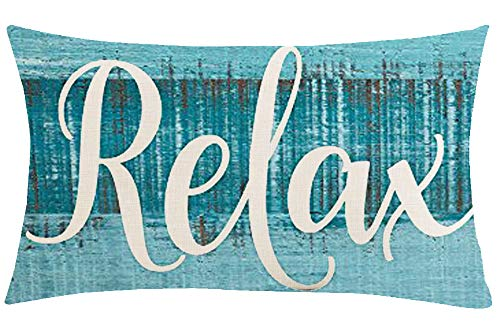 Jimrou Throw Pillow Cover 12x20inches Festival Gifts Blue Wood Sea Beach Relax Summer Holiday Cotton Linen Decorative Home Sofa Chair Car Throw Pillow Case Cushion Cover