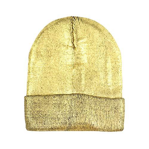 FJROnline Farblaser-Beanie/Strickmütze, warm, Unisex, stylisch, Street Hip Hop Strickmütze für Outdoor, Tanz, Urlaub, Party Gr. 56-58 cm, Gold