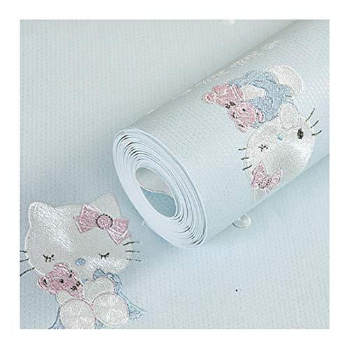 Kinderkamerbehang voor muren 3 D Stereo Reliëf Cartoon Cat Vliesbehang Schattige babykamer Meisje Slaapkamer Behang G Lichtblauw
