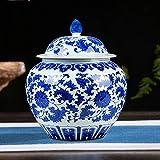 Antiguo Azul Y Blanco Jarrn Chino Tradicional Templo Jar Jarrn Estilo Ming China Florero Azul Y Blanco Cermica Jarrn Pintada A Mano Inicio Decoracin-f H30cmxw25cm