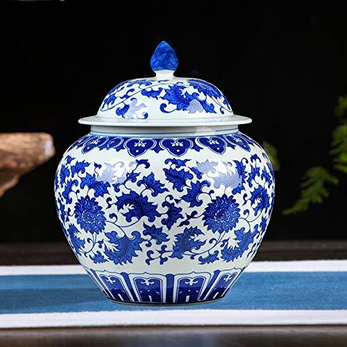 Antiguo Azul Y Blanco Jarrón Chino Tradicional Templo Jar J