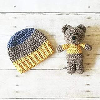 5a384a870 Crochet Striped Beanie Hat Teddy Bear Stuffie Set Infant Newborn Baby  Toddler Child Handmade Photography Photo