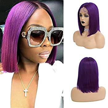 BHL Short Bob Silky Straight Wigs 13x1x4 T Part Lace Front Wigs Hairline 150% Density 14inch Purple Colored Wigs China Virgin Human Hair with Baby Hair for Black Women 14 Inch Charming Purple