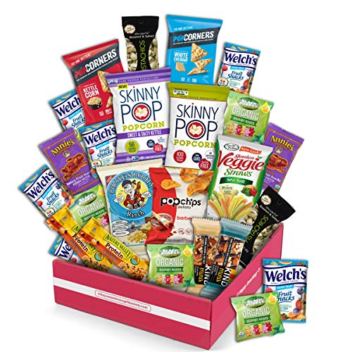 Snack Box Gluten Free Healthy Snacks Care Package (20 Count) for College Students, Exams, Father's Day, Mothers Day,Military, Finals, Office and Gift Ideas. Chips, Popcorn, and granola Bars.