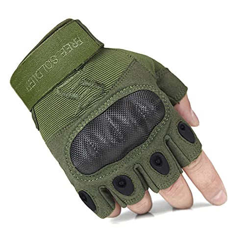 FREE SOLDIER Outdoor Full Finger Half Finger Safety Heavy Duty Work Gardening Cycling Gloves (Green Fingerless Large)