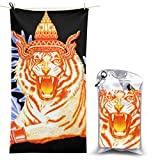 Ride On Tiger Roaring Unicorn Microfiber Beach Towel Compact Quick Dry Super Absorbent Lightweight All Purpose Towel Sand Free Towel for Travel Yoga Gym Swim Hiking,Camping & Bath