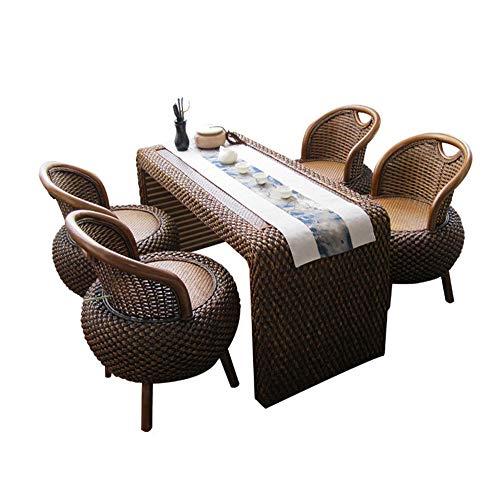 VBARV Asientos de ratán para Exteriores, Juego de Muebles de Patio seccionales de 5 Piezas, Juego de sillas de sofá de Mimbre de ratán PE, Adecuado para balcón, Sala de Estar, fachada, Oficina