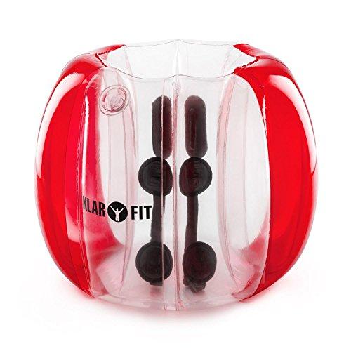Klarfit Bubball KR - Bubble Ball, Blasen-Fußball, Bubble Soccer, ideale Maße für Kinder, 75 x 110 cm, Schultergurte und Handgriffe im Inneren, aufprallgeschützt, 8 Luftkammern, rot