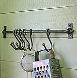 Bowley & Jackson Utensilios de cocina de hierro simple y barra para colgar sartenes.